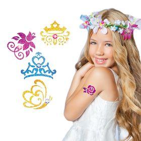 Набор для создания тату блестками Принцессы + трафареты, стразы