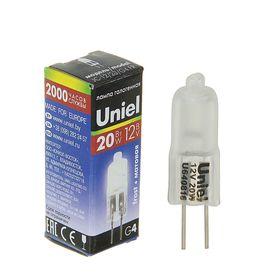 Лампа галогенная Uniel, G4, 20 Вт, 12 В, матовая