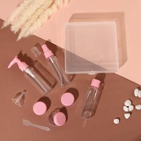 Набор дорожный в футляре: 3 бутылочки по 60мл, 3 баночки по 10гр, лопатка, воронка, цвет розовый