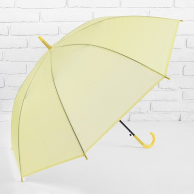 """Зонт-трость """"Однотонный"""", полуавтоматический, R=46см, цвет жёлтый/прозрачный"""