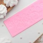"""Коврик для айсинга 17,7х6х0,4 см """"Цветы"""", цвет розовый"""