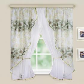 Комплект штор для кухни Филадельфия 250х180см, цв.зеленый, принт МИКС,вуаль, органза, пэ100%