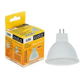 Лампа светодиодная Ecola Light, MR16, 5,0 Вт, 220 В, GU5.3, 4200 K, 48x50, матовое стекло