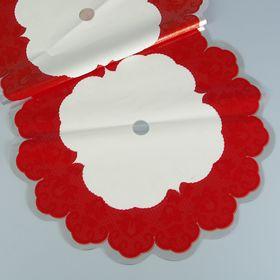 Салфетка ажурная круглая, 60 см, красная
