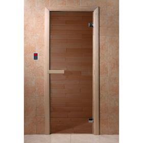 """Дверь для бани и сауны """"Бронза"""" 190х70, 6мм, бронза 2 петли, коробка хвоя"""