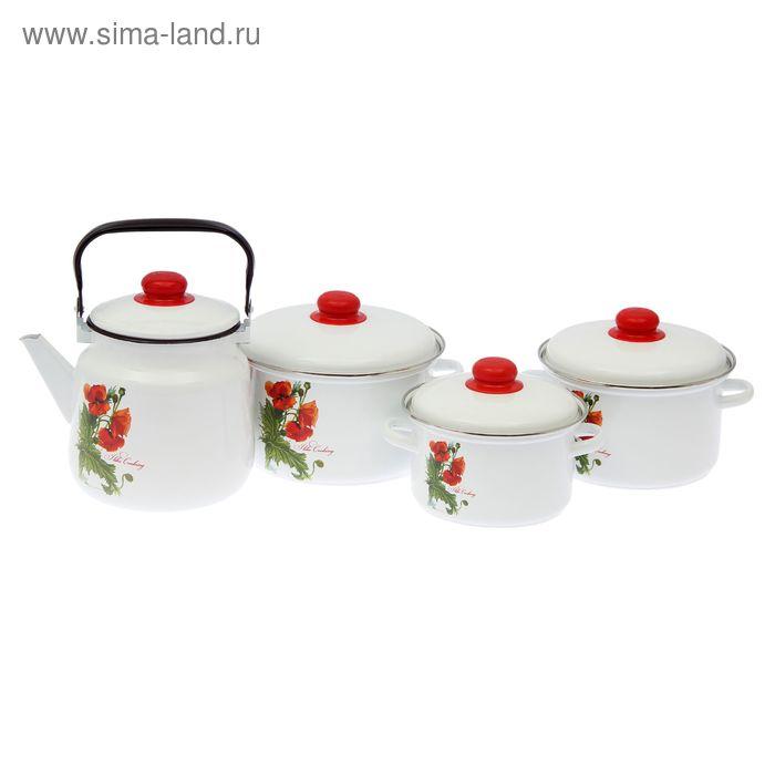 """Набор посуды """"Уралочка"""" 4 предмета: кастрюли 2 л, 3 л, 4 л, чайник 3,5 л"""
