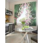"""Комплект штор для кухни """"Дунч"""", размер 150х180 см. - 2 шт. и 2 подхвата 920069"""