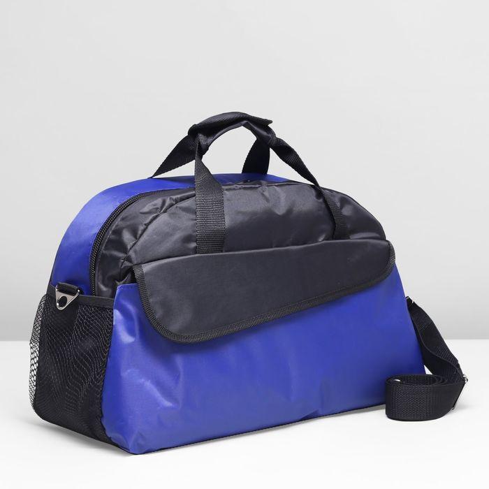 Сумка спортивная на молнии, 1 отдел, цвет чёрный/синий