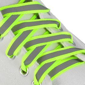 Шнурки для обуви плоские, со светоотражающей полосой, d=10мм, 100см, цвет жёлтый неоновый Ош