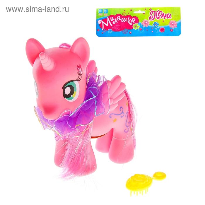"""Пони музыкальная """"Милашка"""", с бантом и расчёской, со световым эффектом, работает от батареек, цвета МИКС"""