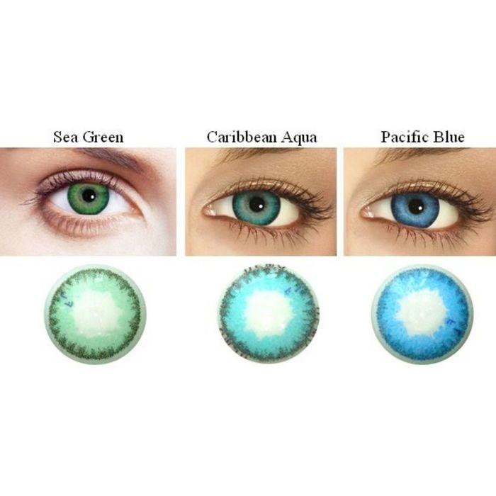 Цветные контактные линзы FreshLook Dimension RX Caribbean Aqua, -3,5/8,6 в наборе 6шт