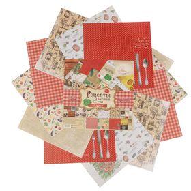 """Набор бумаги для скрапбукинга """"Рецепты счастья"""", 12 листов 30,5 х 30,5 см, 180 г/м"""