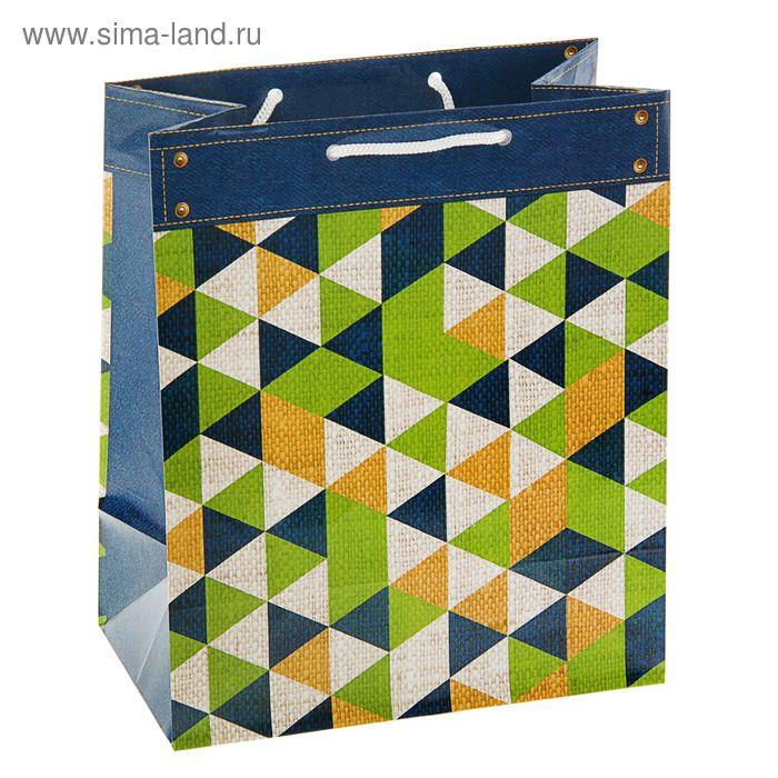 "Пакет подарочный ""Треугольники"", 24 х 20.3 х 11.5 см"