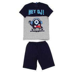 Костюм для мальчика (джемпер+шорты), рост 100-116 см, цвет тёмно-синий Р608699