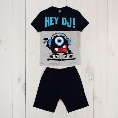 Костюм для мальчика (джемпер+шорты), рост 98 см, цвет тёмно-синий