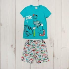 """Пижама для мальчика """"На заправке"""", рост 92-98 (26) см, цвет бирюзовый Р208581_М"""