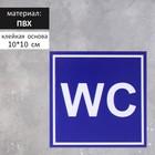 """Табличка туалет  """"WC"""" синий 100*100 мм, клеящаяся основа"""