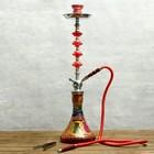 Кальян Treasure, 72 см, 1 трубка, колба красная с росписью, шахта хром