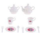 """Набор посуды для игры белый """"На 2 персоны"""", 10 предметов, + книжка с рецептами, Принцессы"""