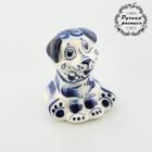 Сувенир «Собака с цветком», гжель, кобальт