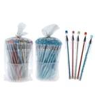 Ручка шариковая 0,38 мм стержень синий, игольчатый пишущий узел, корпус прозрачный с блёстками МИКС