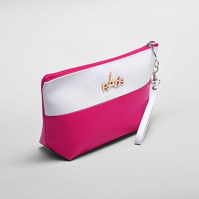 Косметичка-сумочка на молнии, 1 отдел с подкладом, с ручкой, цвет белый/малиновый