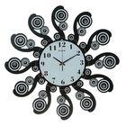 Часы настенные серия Катрин, Завитки со стразами, черные d=53см