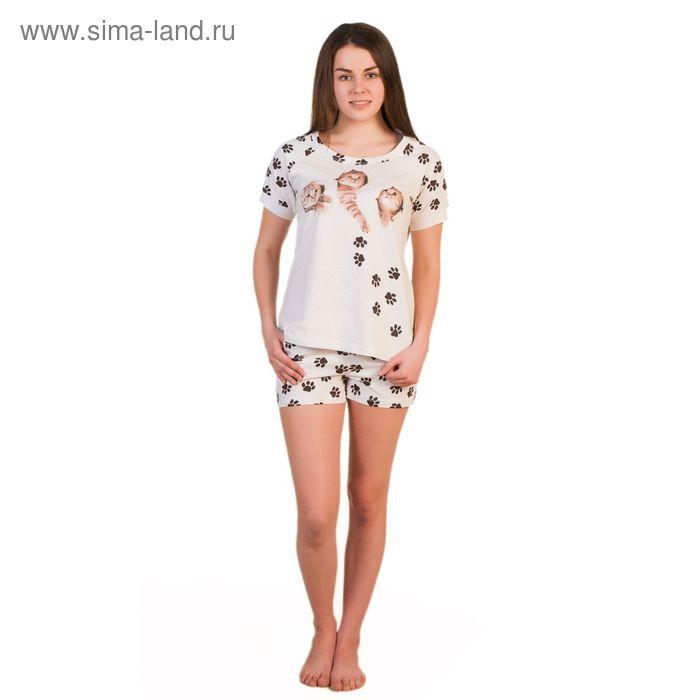 Комплект женский (футболка, шорты) ТК-291 цвет бежевый, р-р 54