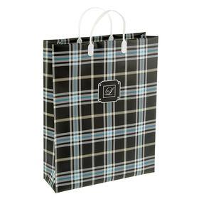 "Пакет ""Шотландка"" синий, мягкий пластик, объемный 32 х 10 х 42 см"