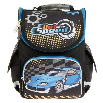 Ранец Стандарт Smart PG-11 34*26*14 мал Blue car, черный 553424