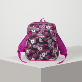 Рюкзак мол Цветы 30*11*33 отдел на молнии нар карман усил спинка черный