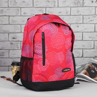 Рюкзак подр Цветы 31*13,5*43,5 отдел на молнии нар карман 2 бок сетки малиновый