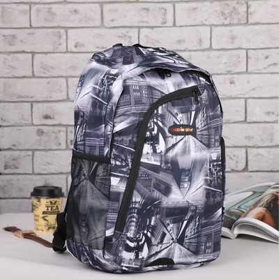 Рюкзак подр Стиль, 30*16*45 отдел на молнии 2 нар кармана бок сетка черно серый