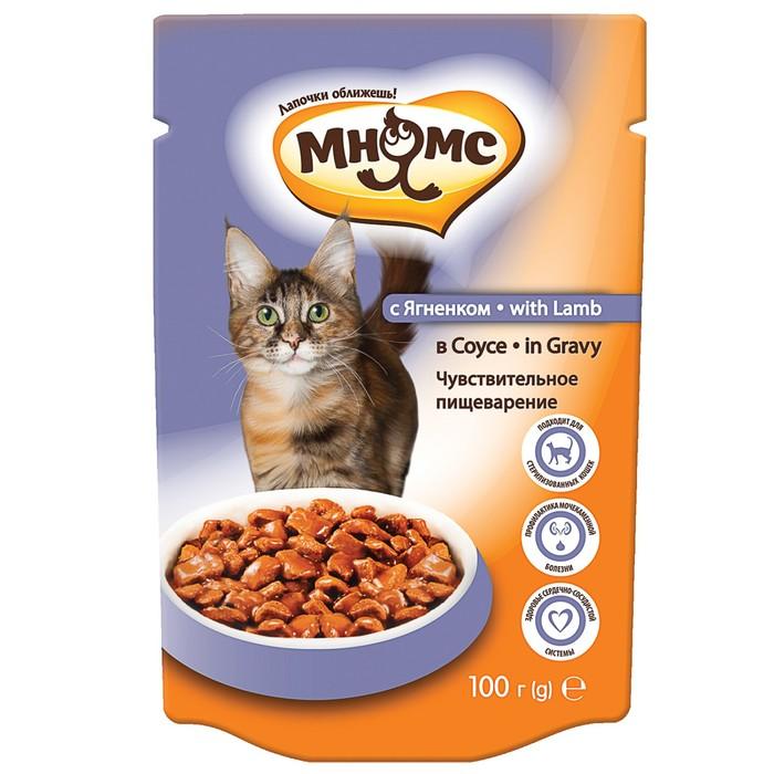 Паучи Мнямс для взрослых кошек с ягненком 100 г в соусе, чувствительное пищеварение
