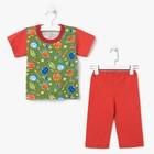 Пижама для мальчика (футболка+брюки), рост 68-74 см, цвет красный, принт микс 1311-48 _М