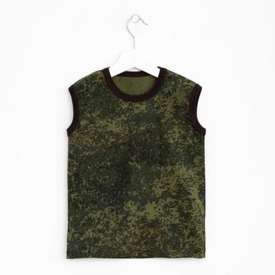 Майка для мальчика, рост 146-152 см, цвет зелёный, принт камуфляж 1256-80