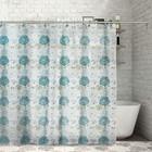 """Штора для ванной 180х180 см """"Голубые цветы"""", PEVA"""