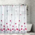 """Штора для ванной 180х180 см """"Тюльпаны"""", ПВХ, прозрачная"""