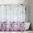 """Штора для ванной 180х180 см """"Розовые цветы акварель"""", полиэстер"""