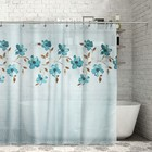 """Штора для ванной 180х180 см """"Голубые цветы акварель"""", полиэстер"""