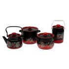 """Набор посуды """"Рябинка"""", 4 предмета: 4 л, 5,5 л, чайник 2,4 л, бидон 3 л"""