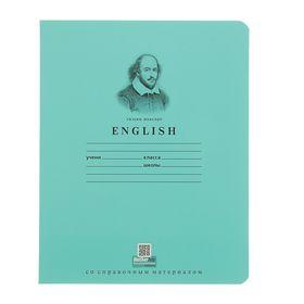 """Тетрадь предметная """"Школьная"""" 36 листов клетка """"Английский язык"""", картонная обложка"""
