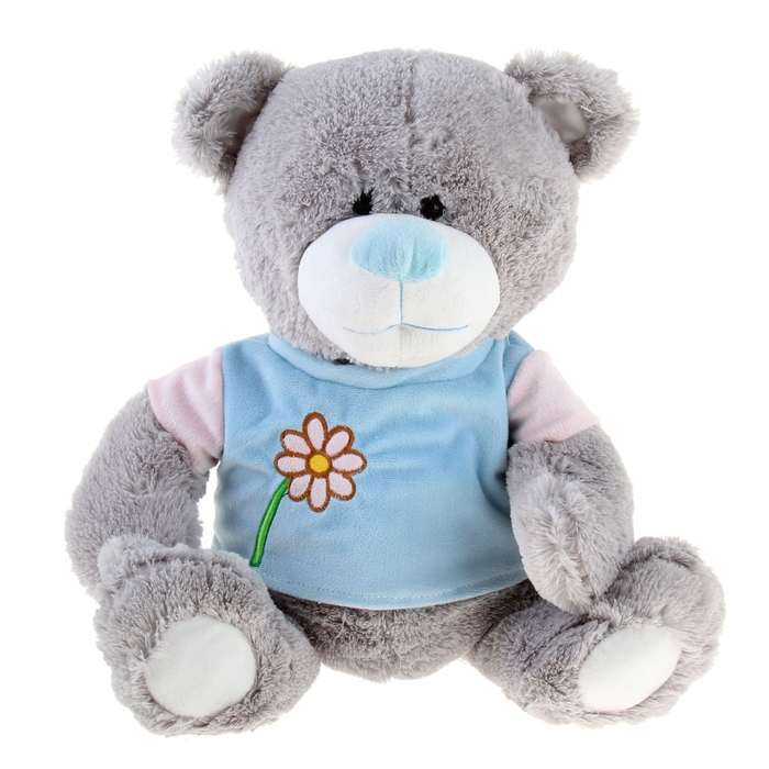 """Мягкая игрушка """"Мишка серый в голубой рубашке с цветком"""""""