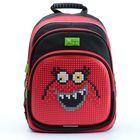 """Рюкзак школьный 4ALL KIDS, эргономичная спинка, пиксель, 39*27*17 см, """"Красный монстрик"""", чёрный"""