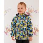 """Куртка для мальчика """"СЕВА"""", рост 86 см (48), цвет серый, принт голубой В10017-05_М"""