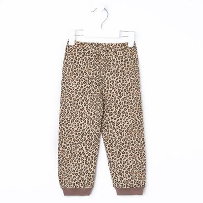 Брюки для девочки, рост 92 см, цвет бежевый, принт леопард 232142_М