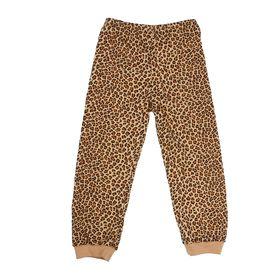 Брюки для девочки, рост 98 см, цвет бежевый, принт леопард 232152