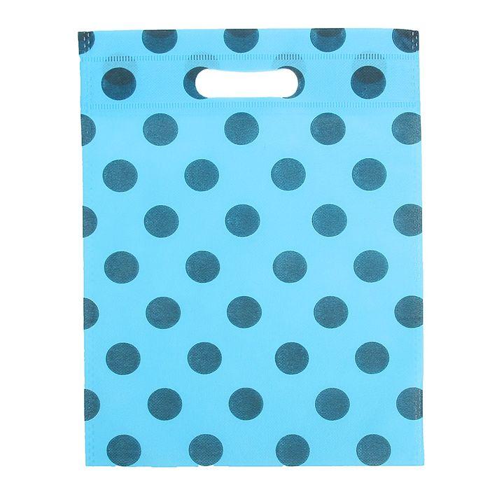 """Пакет с вырубной ручкой """"Горох"""" 30 х 40 см, синий"""