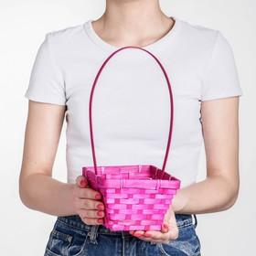 Корзина плетёная, бамбук, квадратная, розовая Ош