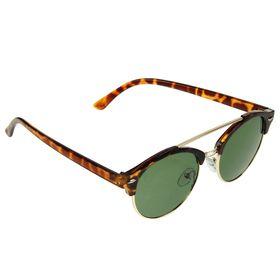 Очки солнцезащитные Clubmaster, оправа коричневый тигр с золотом, линзы зелёные